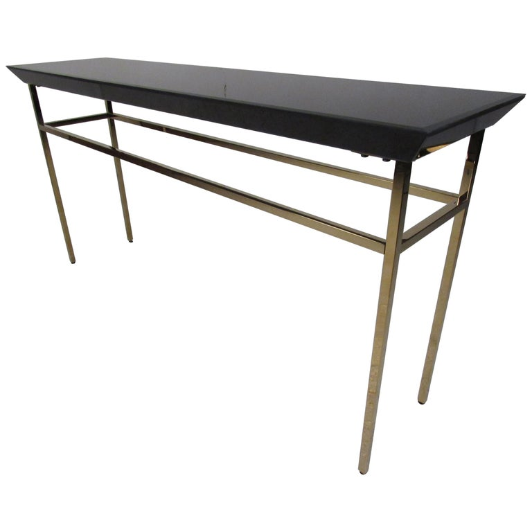 Contemporary Modern Black Gl Console Table