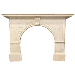 19th Century Mid-Victorian Statuary Marble Arch Fireplace Surround