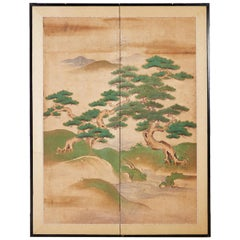 18th Century Japanese Two-Panel Kano School Screen