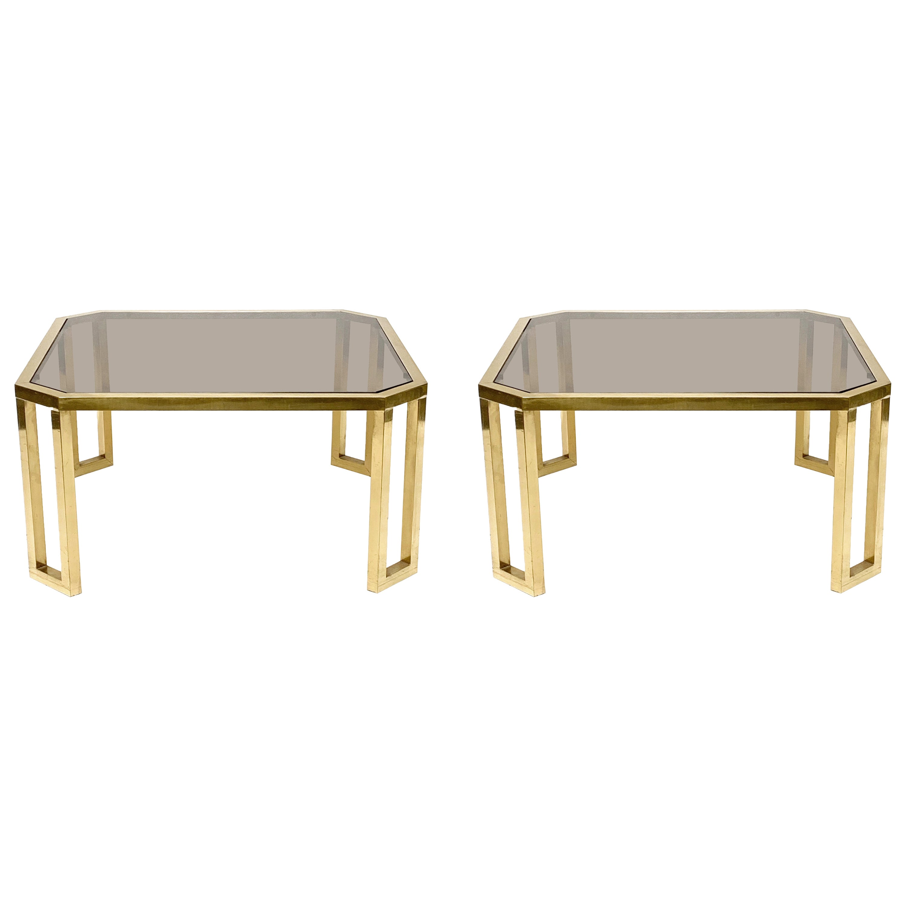 Maison Jansen Octagonal Tables in Brass and Glass, France, 1970s Coffee Tables