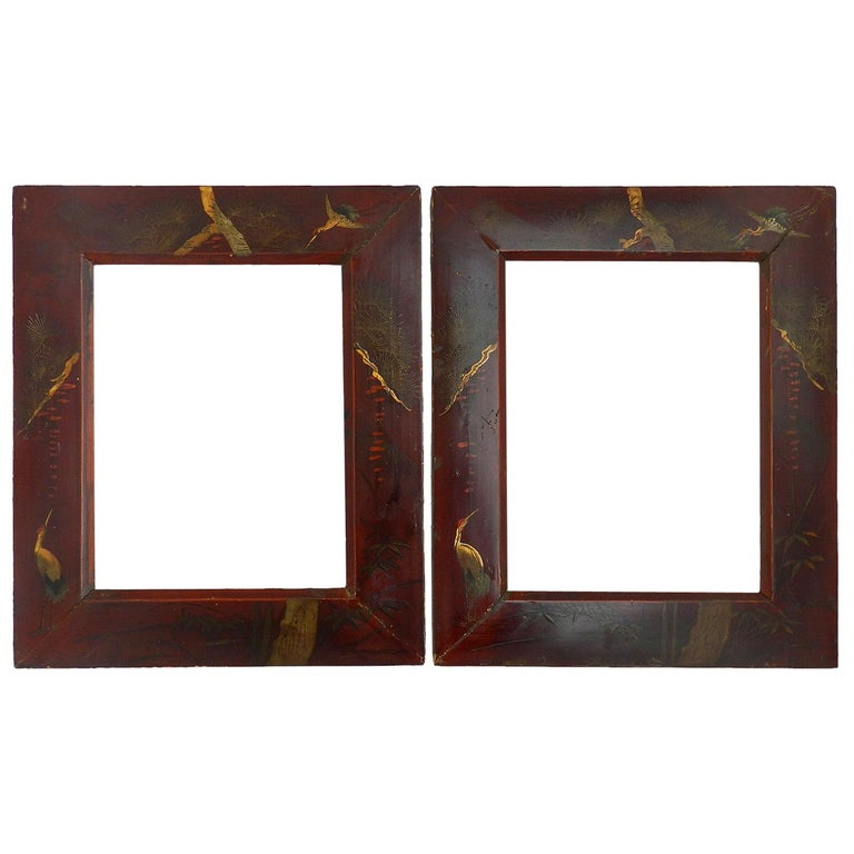 Pair of Picture Frames Chinoiserie Laquer, 20th Century For Sale