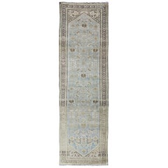 Antique Persian Malayer Runner with Small-Scale Floral Design in Blue, Green