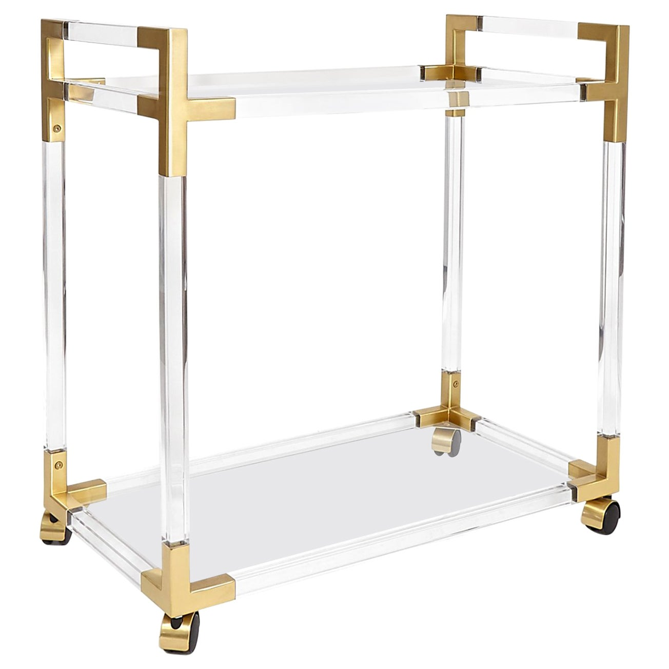 Jacques Lucite and Brass Bar Cart
