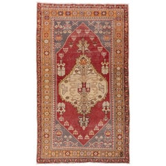 Traditional Oushak Rug, Red Gray and Yellow