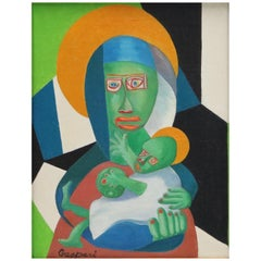 Cubist Oil Painting of the Madonna