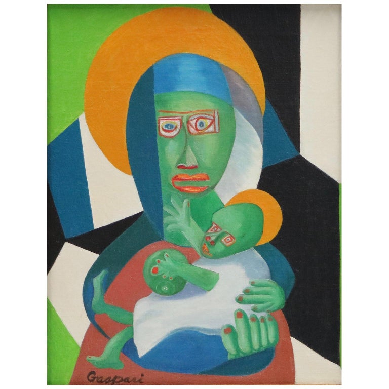 Cubist Oil Painting of the Madonna For Sale