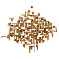 Mid-Century Modern Abstract Metal Wall Art or Sculpture in Brass and Steel