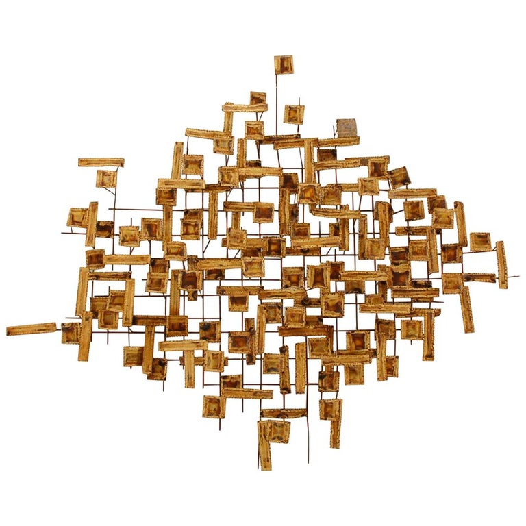 Mid Century Modern Abstract Metal Wall Art Or Sculpture In Brass And