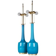 Turquoise Blue Glass Lamps by Bergboms, Swedish, circa 1970