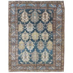 Shades of Blue and Ivory Antique Persian Fine Malayer Rug, Large Scale Design