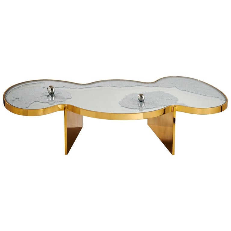 Frissons Doré Coffee Table by Hubert Le Gall For Sale