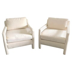 Pair of Crisp Tailored Parsons Club Chairs in the Style of Milo Baughman