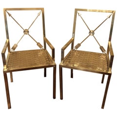 Glimmering Show Stealer Heavy Brass Neoclassical Armchairs by Mastercraft