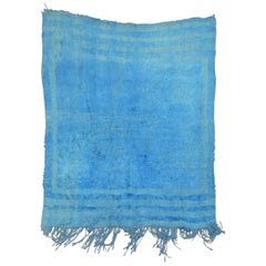 Wild Blue Vintage Turkish Mohair Rug