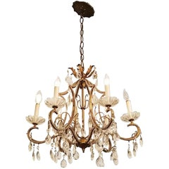 1931 NYC Waldorf Astoria Hotel Six-Light Florentine Brass and Crystal Chandelier