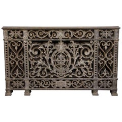 1910s Heavily Cast Decorative Floral Motif Iron Balcony Railing from Argentina