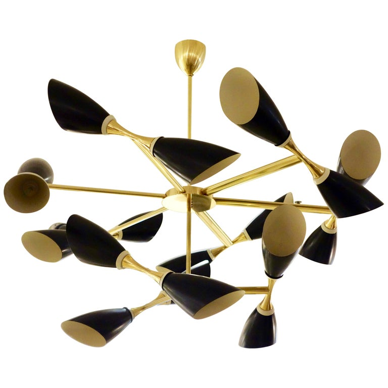 Italian Midcentury Style Black Cone and Solid Brass Studio Made Chandelier For Sale