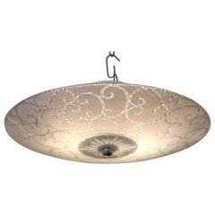 1950s MCM Brass Two Socket Frosted and Etched Glass Shade Flush Mount Light