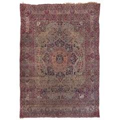 Colorful Persian Lavar Kerman Carpet