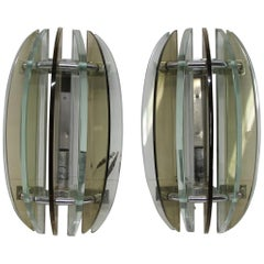 1970s Pair of Mid-Century Modern French Steel and Glass Sconces