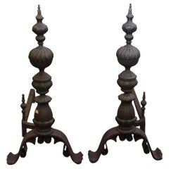 1890s Pair of Antique over Sized Cast Iron and Swirl Design Bronze Andirons
