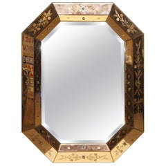 1950s Etched and Beveled Mirror with Floral Details and Copper Tone Frame