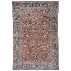 Bright Persian Mahal Carpet, Red Field