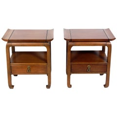 Pair of Asian Style Midcentury End Tables or Nightstands