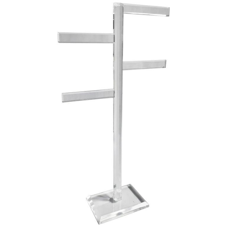 Midcentury Freestanding Lucite Rack For Sale