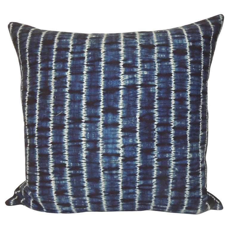 Vintage Indigo and White African Resist-dye Textile Decorative Pillow For Sale