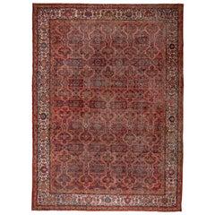 Large Persian Mahal Carpet, Coral Red Field