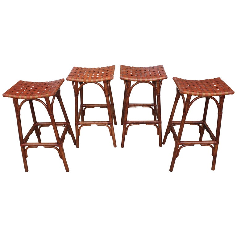 Set of Four Bamboo Stools For Sale