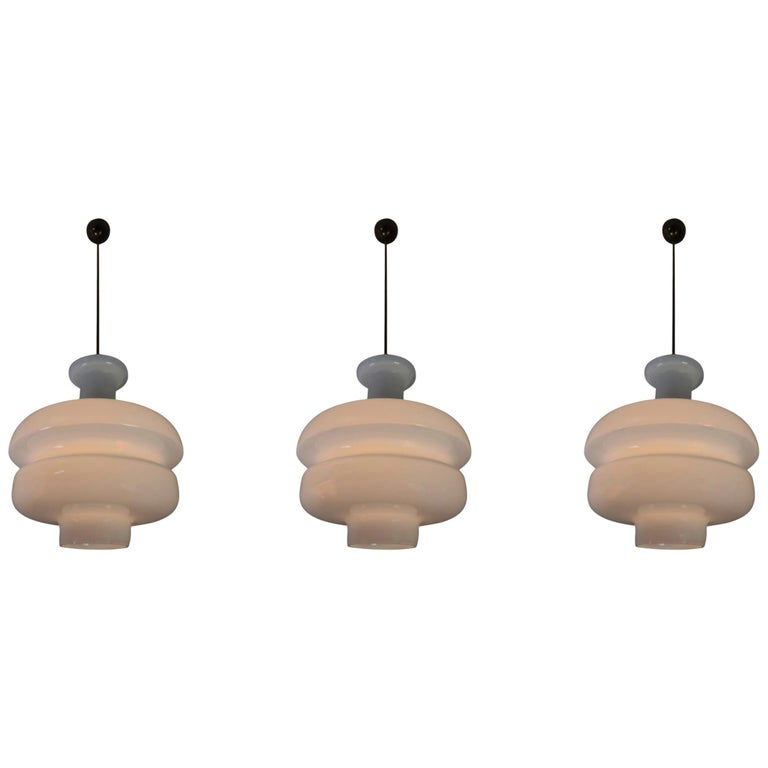 Set of Three Large Midcentury Pendants, Opaline Glass and Brass, Europe, 1960s For Sale