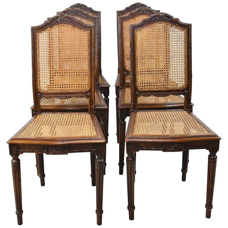 Set of Six Louis XVI Style Chairs in Oak w/ Woven Cane Seat & Back, c 1880 For Sale
