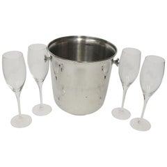 1980s NYC Waldorf Astoria Hotel Ice Bucket and Wine Glass Set