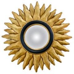 Vintage Giltwood Convex Sunburst Mirror, circa 1970