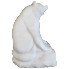 Large-Scaled Carved Marble Figure of a Red Panda with Its Distinctive Puffy Tail
