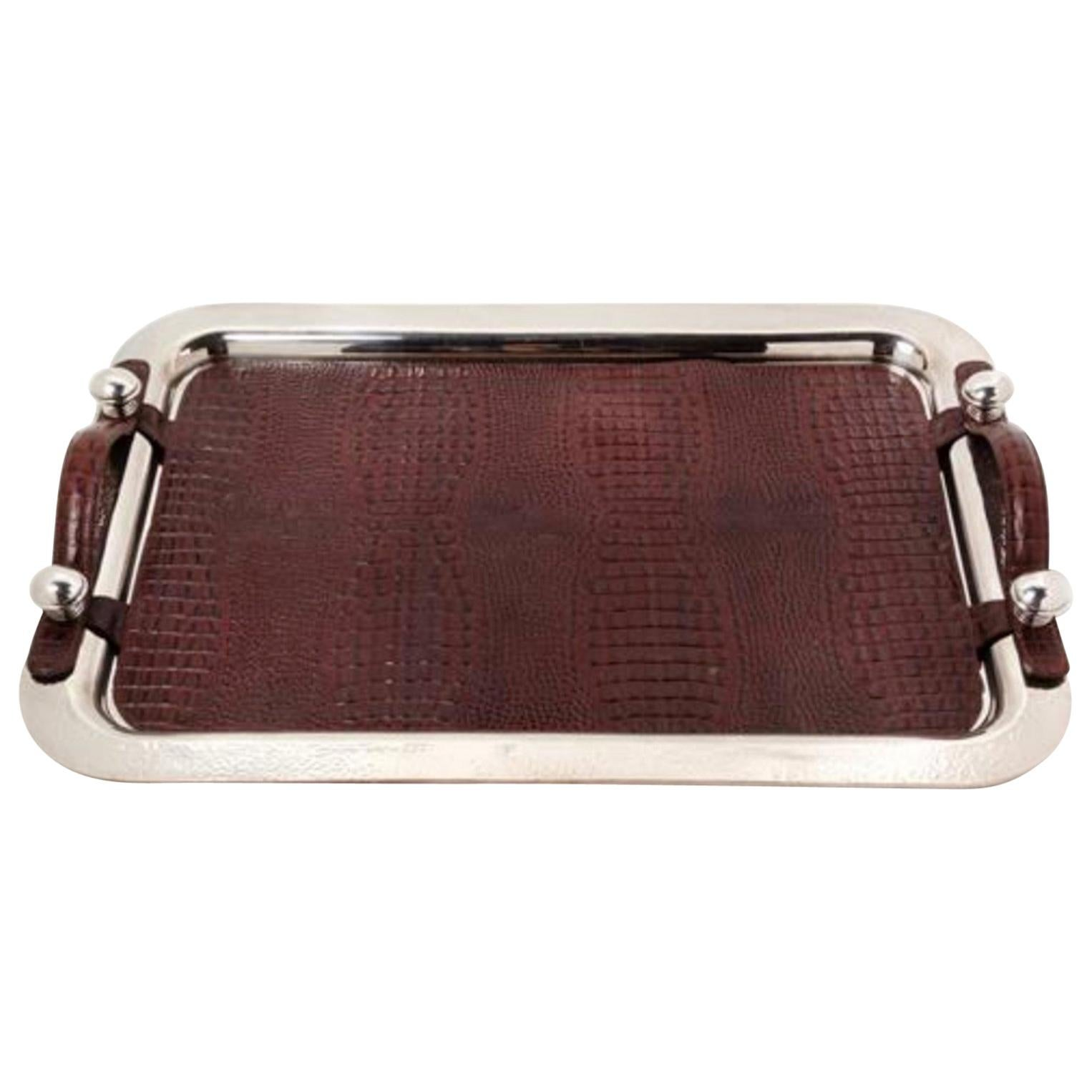 Argentine Silver-Plate and Leather Serving Tray, Plata Lappas, Buenos Aires