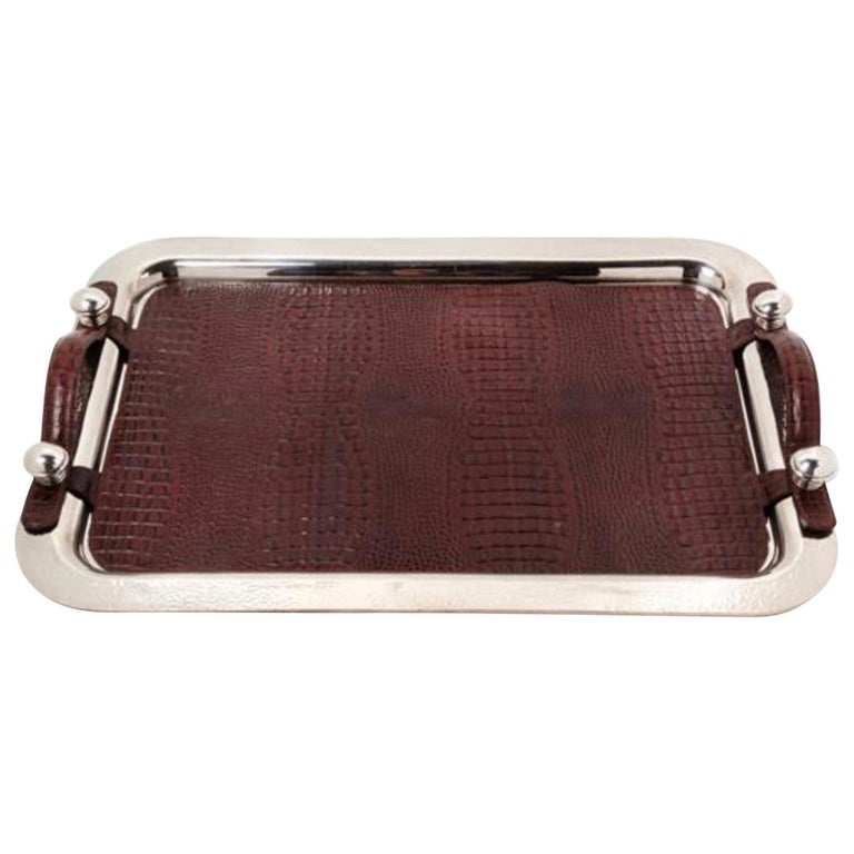 Argentine Silver-Plate and Leather Serving Tray, Plata Lappas, Buenos Aires For Sale
