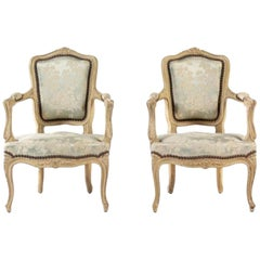 Charming 19th Century Pair of Louis XV Style Painted Child's Chairs Upholstered.