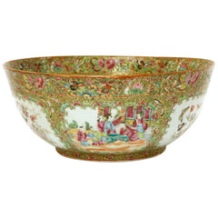 Large 19th Century Chinese Qing Famille Rose Polychrome Gilded Porcelain Bowl