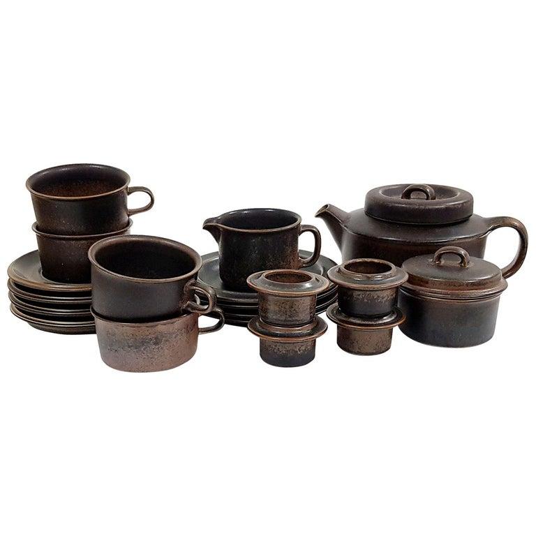 """Ruska"" Tea Set, 15 Pieces, Ruska, Arabia Designed by Ulla Procopé For Sale"
