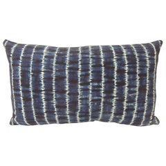 Vintage Indigo and White African Resist-Dyed Textile Decorative Pillow