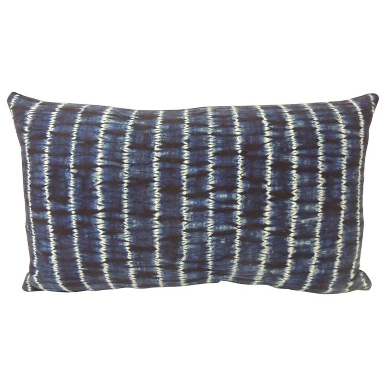 Vintage Indigo and White African Resist-Dyed Textile Decorative Pillow For Sale