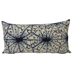 Vintage Indigo & White African 'Shibori' Hand Dyed Textile Decorative Pillow