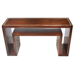 Modern Rosewood with Mother of Pearl Entry Sofa Table