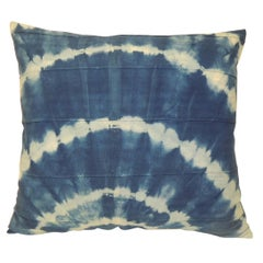 "Vintage Blue and White African ""Shibori"" Hand Dyed Textile Decorative Pillow"