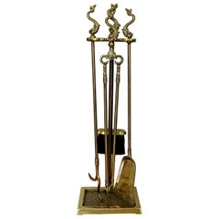Harvin 'Virginia Metalcrafters' Dolphin Brass Fireplace Tool Set