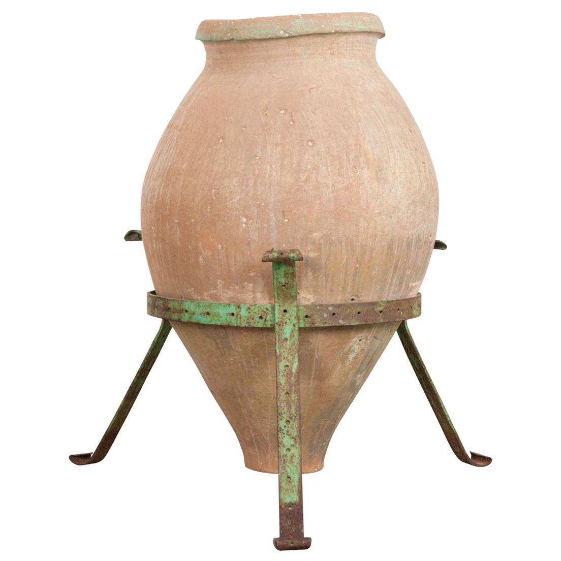 French 19th Century Terracotta Olive Jar on Stand