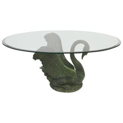 Green Patinated Bronze Swan Coffee Table, Italy, 1960s
